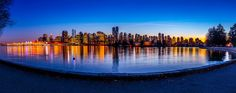 nightime in the city of Vancouver panorama (of ) - A beautiful night at coal harbour In Vancouver, Canada as seen in this panorama. Vancouver, Skyscraper, Canada, River, Mountains, Abstract, Architecture, Amazing, Outdoor