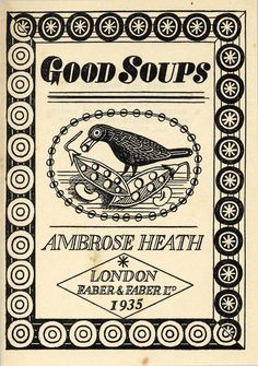 Title page from Good Soups by Ambrose Heath (1935).Illustration by Edward Bawden
