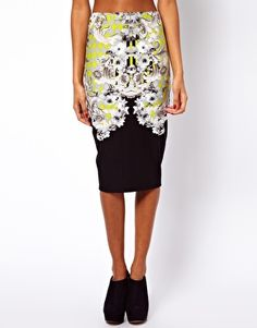 ASOS Pencil Skirt in Floral Baroque Print $36