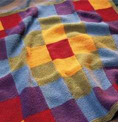 Lovely knitted patchwork blanket