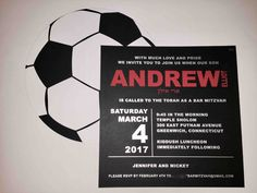 This is becoming a popular layout for a Bar Mitzvah. Perfect for a soccer themed celebration. Box Invitations, Custom Invitations, Soccer Party, Torah, Bar Mitzvah, How To Become, Celebration, Layout, Popular