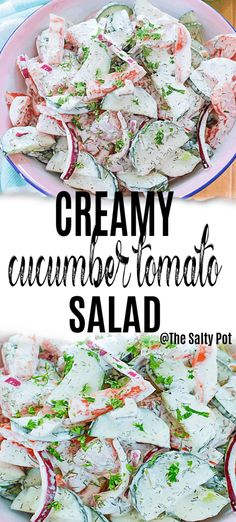 This creamy cucumber tomato salad is the definition of summer! Fresh vegetables heaping in a bowl with creamy dill dressing is called DELICIOUS! Creamy Cucumber Tomato Salad, Cucumber On Eyes, Creamy Cucumbers, Cucumber Recipes, Chicken Salad Recipes, Sesame Seeds Recipes, Easy Salads, Vegetable Salad, Spring Recipes
