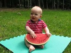 Funny baby and watermelon