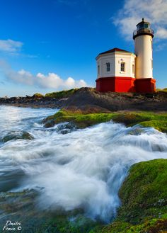 This is a Coquille River Light lighthouse located near Bandon, Oregon, United States.