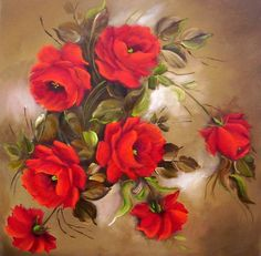 pintura flores vermelhas - Pesquisa Google