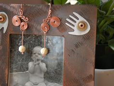 Swirling Copper Earrings with Carved Ivory Rose Beads by BGPainter, $16.00