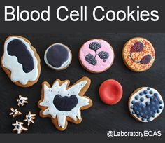 Medical Laboratory and Biomedical Science: Blood Cell Cookies(Vet Tech Blood Cells) Science Party, Science Geek, Science Student, Science Humor, Lab Humor, Work Humor, Medical Laboratory Scientist, Med Lab, Biomedical Science