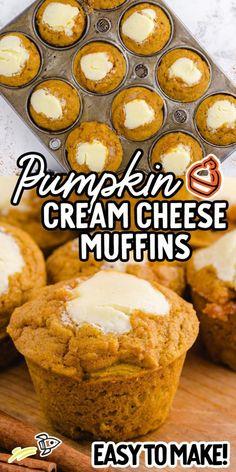 No Bake Desserts, Just Desserts, Delicious Desserts, Dessert Recipes, Yummy Food, Pumpkin Recipes, Fall Recipes, Holiday Recipes, Pumpkin Cream Cheese Muffins