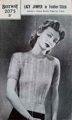Lacy Jumper in Feather Stitch – Bestway 2075 -Free Vintage Knitting Pattern – Vintage Knitting Pattern Archive Jumper Knitting Pattern, Jumper Patterns, Sock Knitting, Vogue Knitting, Vintage Jumper, Vintage Sweaters, Knit Sweaters, Vintage Knitting, Vintage Crochet