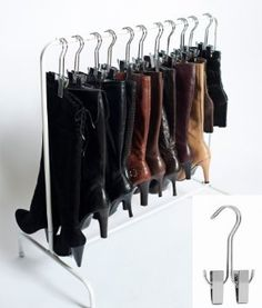 Amazon.com: The Boot Hanger - Shoe Storage Space Saver (set of 3); Boot Shaper, Boot Holder, Boot Clips (SILVER): Home & Kitchen