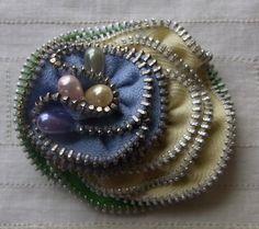 Zipper Brooch Pin Blue Cream Green by Giorgann on Etsy, £9.50
