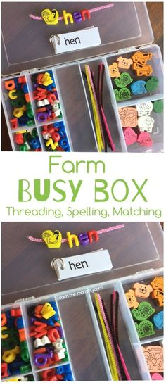 Farm Busy Box for preschool and toddler learning. Fun fine motor activity for farm theme. Preschool At Home, Preschool Learning, Learning Activities, Preschool Activities, Kids Learning, Time Activities, Teaching Resources, Busy Boxes, Farm Theme