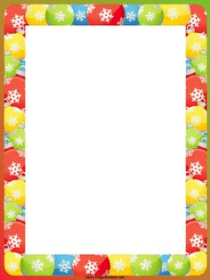 Colorful ornaments are decorated with white snowflakes in this free, printable Christmas border. Free to download and print.