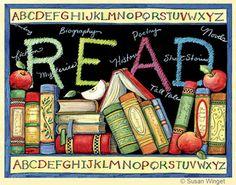 READ poster © Susan WINGET (Artist, USA) ... ... School poster, Classroom art. Alphabet, Blackboard, Books, Apple for the Teacher.