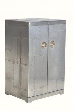 Casa Padrino Luxus Aluminium Wein Schrank, Koffer Design Weinschrank    Vintage Flieger Möbel