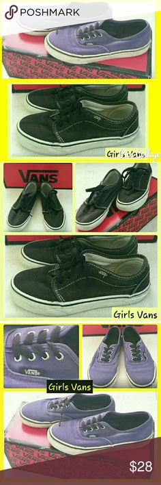 2 pairs of Girls Vans 2 pair Bundle of Girls Vans tennis shoes. Size 2.5 Used. Some external fading of color to the purple pair. Both shoes just need minor cleaning of the white rubber sole linings. Otherwise...good condition! Vans Shoes Sneakers