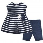 Il Gufo Baby Girls Navy Striped Top & Shorts Set