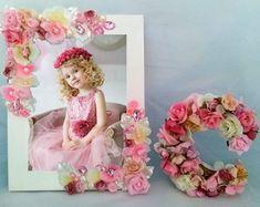 Jogo Porta Retrato e Letra com Flores