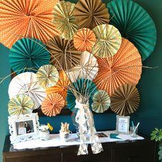 Bridal Shower - paper fans (orange and teal)