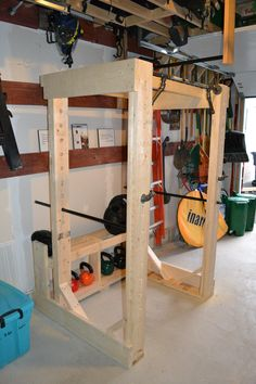 Best Home Gym Crossfit Power Rack 46 Ideas Cage Crossfit, Crossfit Home Gym, Home Made Gym, Diy Home Gym, Squat Rack Diy, Diy Power Rack, Gym Rack, Home Gym Basement, Backyard Gym