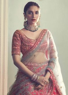 Aditi Rao Hydari In Kalki Crimson Red Lehenga in Raw Silk With Intricately Hand Embroidered Floral Pattern Wedding Dresses For Girls, Indian Wedding Outfits, Bridal Outfits, Indian Outfits, Pink Lehenga, Bridal Lehenga, Lehenga Choli, Wedding Lehnga, Bollywood Designer Sarees