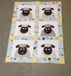 Baby quilt Crib quilt Childrens animal quilt Toddlers nap blanket with matching pillow Gender Neutral baby quilt Lew the Ewe crib quilt
