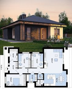 Want to Design floor Plan? Contact us (Low Budget + Good Quality) Freelancer . Small House Plans, House Floor Plans, Ranch Exterior, Rest House, House Layouts, Skylight, Amazing Architecture, New Homes, House Design