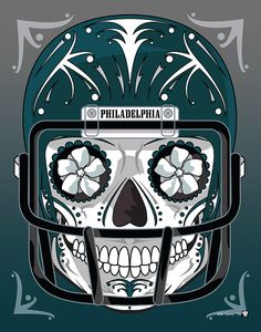 """""""Philadelphia Eagles"""" Sugar Skull Day of the Dead Calavera Print Inspired by the professional football team"""