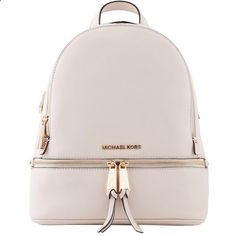 Michael Kors Cream Rhea Small Leather Backpack (1,475 MYR) ❤ liked on Polyvore featuring bags, backpacks, leather backpack bag, leather rucksack, leather daypack, zip top bag and pink backpack