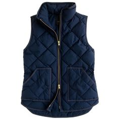 J.Crew Excursion quilted vest ($110) ❤ liked on Polyvore featuring outerwear, vests, jackets, tops, coats, blue puffy vest, puffer vest, vest waistcoat, slim vest and quilted puffy vest