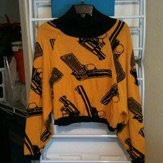 RARE Betsey Johnson Vintage Punk Label Yellow Guns Sweater Top Blouse Size M   eBay