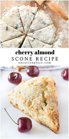 Strawberry Scones, Fruit Scones, Fresh Cherry Scones Recipe, Brunch Recipes, Breakfast Recipes, Breakfast Scones, Basic Scones, 400 Calorie Meals, Biscuits