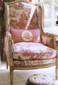 this french wing chair has toile upholstery u0026 giltwood