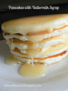 these home made pancakes with Buttermilk Syrup are so good - the boiled syrup is thick and warm and kinda like a soft caramel sauce with a slight cheesecake flavor. sounds good to make this for holiday mornings.