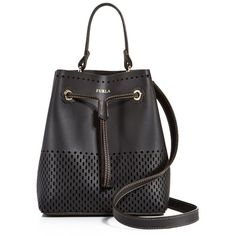 Furla Stacey Drawstring Perforated Small Leather Bucket Bag ($279) ❤ liked on Polyvore featuring bags, handbags, shoulder bags, leather handbags, leather purses, furla handbags, leather drawstring purse and perforated leather handbag