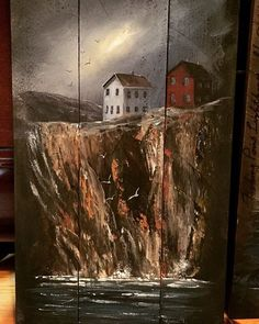 Sea Cliff, Reclaimed Wood Art, Coastal Art, Newfoundland, Hangers, Instagram Posts, Painting, Hanger Hooks, Painting Art