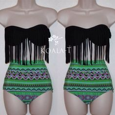 Black Fringe Bandeau Top & Tribal Print High by KoalaTFashion, $44.99