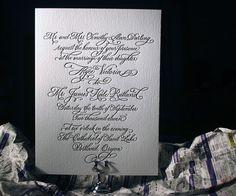 Letterpress Wedding Invitations | Victoria Calligraphy Design | Bella Figura Letterpress