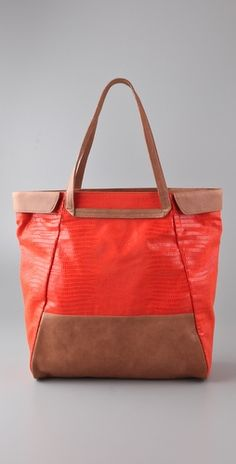 Oversized BE&D canvas tote. Love the red/orange!