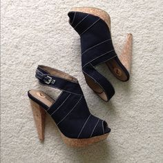 Gomax Heels Perfect condition, worn once! Black canvas with white stitching and cork platform heels. Shoes Heels