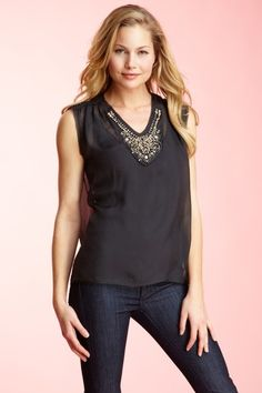 Bird by Juicy Couture Jeweled Sleeveless Blouse