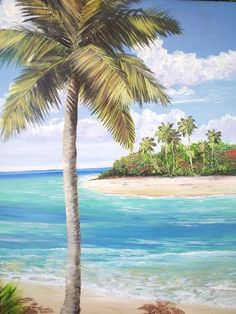I positively love beaches. I love to surf. I love to fish, and I'm always in need of a suntan. Watercolor Trees, Watercolor Landscape, Landscape Art, Landscape Paintings, Canvas Painting Tutorials, Diy Canvas Art, Coconut Tree Drawing, Paintings Famous, Plant Painting