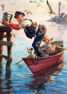 Norman Rockwell - An Old Man, a Boy and His Dog in a Rowboat Peintures Norman Rockwell, Norman Rockwell Art, Norman Rockwell Paintings, Vintage Illustration, Images Gif, Fine Art, Beautiful Paintings, American Artists, Belle Photo