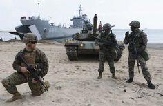 EUA - Coreia do Sul, começam exercícios militares. Militares dos EUA e da Coreia do Sul inciaram os exercícios conjuntos na costa da península coreana