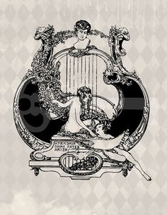 Art Nouveau woman harp graphic download Image by TanglesGraphics, $1.00