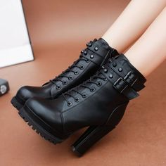 High Heels Zipper Ankle Boots - Source by rowlingtolkein fashion boots Black Heel Boots, High Heel Boots, Black Heels, Heeled Boots, Shoe Boots, High Heels, Lace Up Ankle Boots, Edgy Shoes, Cute Shoes
