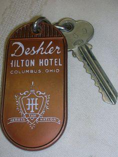 Vintage Hotel Key Chain Deshler Hilton Hotel Columbus Ohio 759 Key w/Chain #DeshlerHiltonHotel