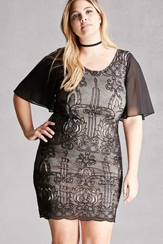 Forever 21+ - A knit bodycon dress by Soieblu™  featuring a baroque embroidery, round neckline, V-back, short semi-sheer sleeves, scalloped trim, and an exposed back zipper.