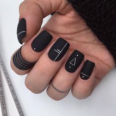 Manis That Will Make You Adore Squoval Nails – Nail Shapes Ideas - Nail art designs Matte Black Nails, Acrylic Nails Coffin Short, Square Acrylic Nails, Best Acrylic Nails, Nail Black, Black Nails Short, Squoval Acrylic Nails, Nail Shapes Squoval, Black Manicure