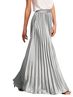 Women's Night Out Skirts - ROMWE Womens Retro Vintage Summer Chiffon Pleat Maxi Long Skirt Dress ** Visit the image link more details. (This is an Amazon affiliate link)